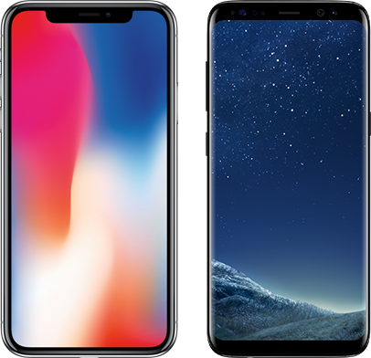 iPhone X versus Samsung Galaxy S8