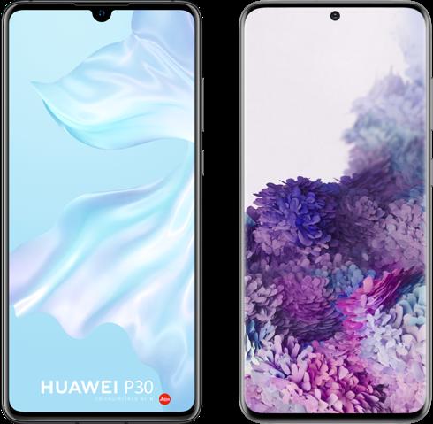 Samsung Galaxy S20 vs Huawei P30 hero
