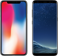 iPhone X versus Galaxy S8