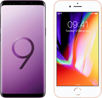 samsung galaxy s9 versus iphone 8 Hero mobiel