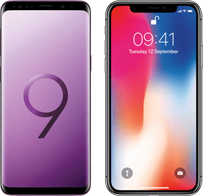 Samsung Galaxy S9 versus iPhone X hero mobiel