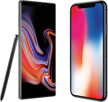 Samsung Galaxy Note 9 versus iPhone X hero mobiel